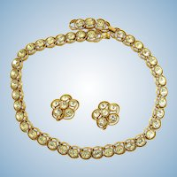 Vintage Crown Trifari Clear Rhinestone Choker Necklace and Earring Set