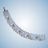 Vintage Trifari Baby Blue Enamel Flower Bracelet