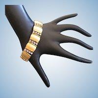 Crown Trifari Clear Rhinestone and Brushed Gold Tone Bracelet