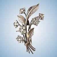 Trifari Sterling Flower Dress / Fur Clip