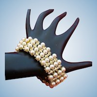 Crown Trifari Four Row Faux Pearl Bracelet