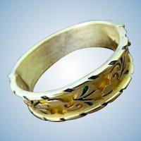 "Vintage Trifari ""L'Orient"" Hinged Bangle Tulip Bangle Bracelet"