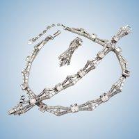 Vintage Trifari Clear Baguette Rhinestone Necklace Bracelet Set