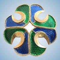 Vintage Trifari Blue and Green Enamel Maltese Cross Pin / Pendant