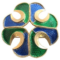 Vintage Trifari Blue and Green Enamel Maltese Cross Pin / Pendant