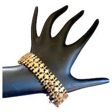 Vintage Crown Trifari Shiny Gold Tone Bracelet