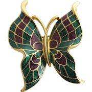 Vintage Trifari Green and Maroon Enamel Butterfly Brooch