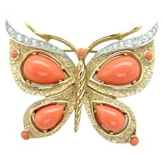 Vintage Crown Trifari Faux Coral Butterfly Pin