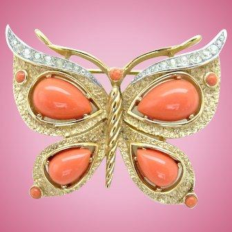 Vintage Crown Trifari Faux Coral Butterfly Pin