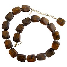Vintage Trifari Lucite Tortoise Bead Necklace