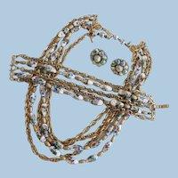 Vintage Rare Trifari Foil Confetti Glass Parure.