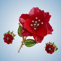 Vintage Crown Trifari Red Rose Enamel Flower Pin and Earring Set - Advertisement Piece