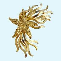 Vintage Trifari Starfish and Kelp Gold Trifarium Brooch in Original Box
