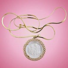 Vintage Trifari Gemini Intaglio Zodiac Pendant Necklace