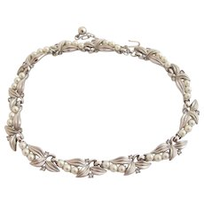Vintage Trifari Silver Trifarium Leaf and Faux Pearl Choker Necklace