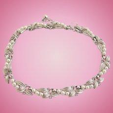 Vintage Trifari Silver Trifarium Leaf and Faux Pearl Choker Necklace