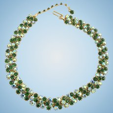 Vintage Trifari Green and Aurora Borealis Rhinestone Choker Necklace