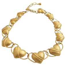 Vintage Trifari TM Gold Tone Hearts Necklace