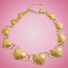 Vintage Trifari TM Gold Tone Hearts Necklace