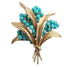 Vintage Crown Trifari Faux Turquoise Flower Brooch