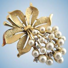 Vintage Trifari Faux Pearl and Rhinestone Flower Cluster Pin / Brooch