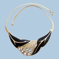 Vintage Trifari TM Black Enamel and Rhinestone Choker Necklace