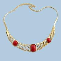 Vintage Trifari Red Cabochon Curved Gold Trifarium Choker Necklace