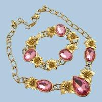 Vintage Kunio Matsumoto Trifari Pink Rhinestone Necklace and Bracelet Set - Book Piece