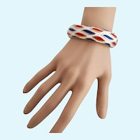 Vintage Trifari Patriotic Red, White and Blue Hinged Bangle Bracelet