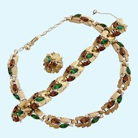 Vintage Trifari Green and Brown Rhinestone Necklace and Bracelet Set - in Original Box - Book Cover Set.
