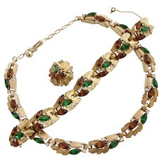 Vintage Trifari Green and Brown Rhinestone Necklace and Bracelet Set