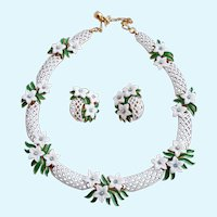 Vintage Trifari White Enamel Basketweave and Flower Necklace and Clip Earring Set