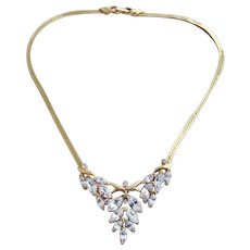 Vintage Trifari Kunio Matsumoto Gold Plated Clear Rhinestone Necklace