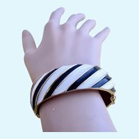 Vintage Trifari Black and White Diagonal Striped Enamel Clamper Bangle Bracelet