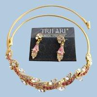 Vintage Trifari Pink Rhinestone Choker Necklace and PIerced Earrings Set