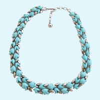 Vintage Trifari Spring Song Turquoise Tulip Flower Choker Necklace