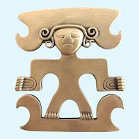 Vintage Trifari Aztec or Mayan Tribal Figural Brooch