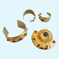 Vintage Tulla Booth Rare Gold Plated Parure - Cuff, Brooch and Pierced Earring Set