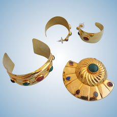Vintage Tulla Booth Rare Gold Tone Parure - Cuff, Brooch and Pierced Earring Set