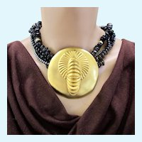 Vintage Tulla Booth Large Gold Plated Asian Influence Pendant Necklace