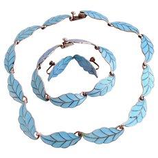 Vintage Villa Light Blue Sterling Guilloche Leaf Parure - Necklace, Bracelet, Clip Earrings #5402