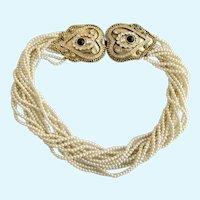 Vintage Ugo Correani Muti-Strand Faux Seed Pearl Necklace with Ornate Clasp - Rare