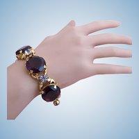 Vintage Huge Amethyst Rhinestone Gold Plated Bracelet