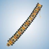 Vintage Designer Quality Green and Amber Rhinestone Flower Cluster Bracelet