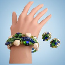 Vintage Blue Green Foil Glass Coil Bracelet and Clip Earring Set