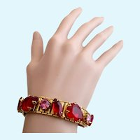 Vintage Raised Red and Pink Rhinestone Gold Tone Book Chain Bracelet