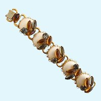 Vintage Mabe Faux Pearl and Amber Rhinestone Book Chain Bracelet