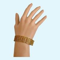 Vintage Gold Tone Filigree Link Bracelet