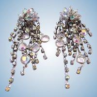 Vintage Aurora Borealis Cluster Dangle Clip Earrings