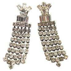 Vintage Clear Rhinestone Five Row Dangle Clip Earrings